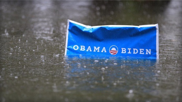 Obama sign rises above Sandy's stormwater