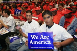 "DREAMERS display sign, ""We Are America""."