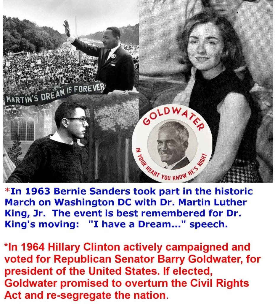 Bernie marched with MLK, HRC supported Goldwater