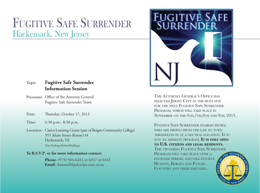 Hackensack Fugitive Safe Surrender Information Session