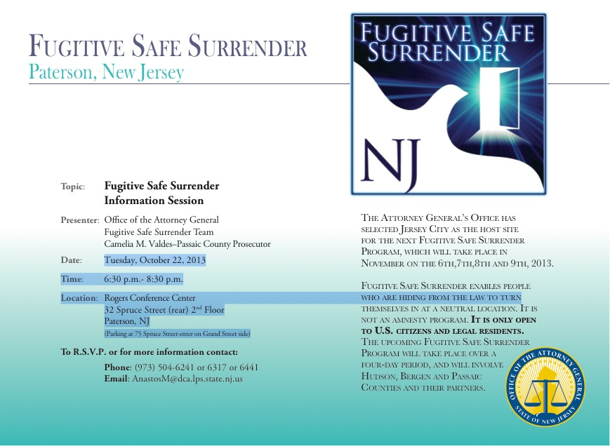 Paterson Fugitive Safe Surrender Information Session