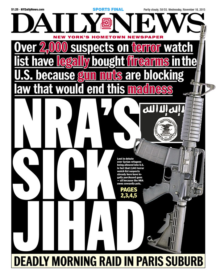NY Daily News front page 151118