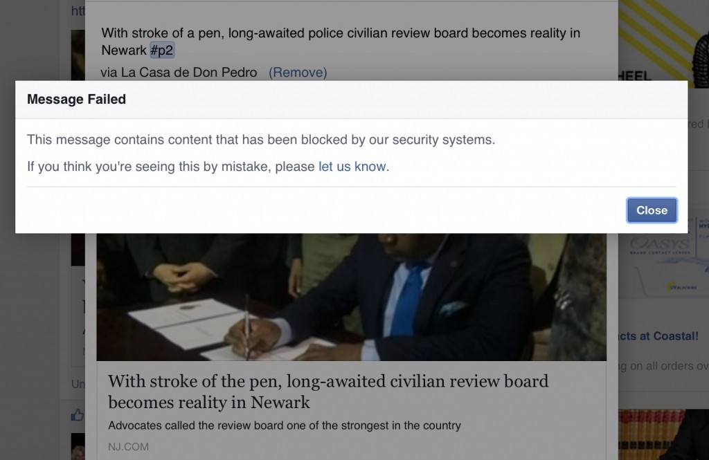 Facebook blocks sharing of civilian police review board signing