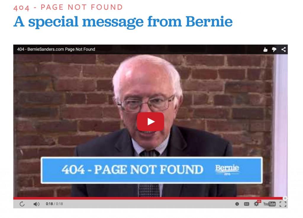 Bernie Sanders' 404 error