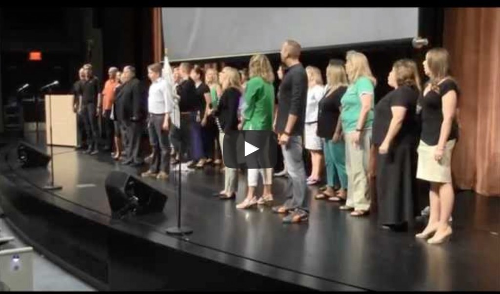 teacher flash mob singers