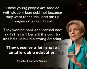 E Warren on affordable higher ed