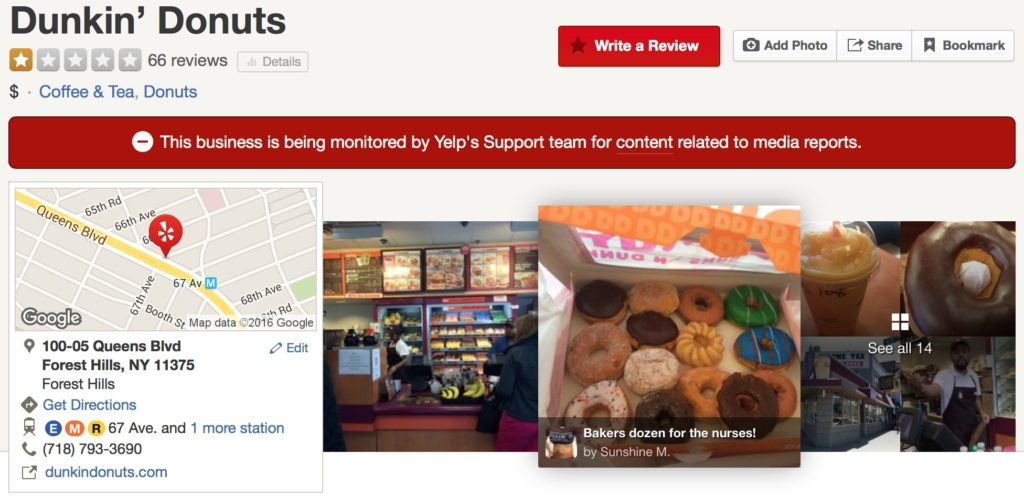 Yelp blocked access to page