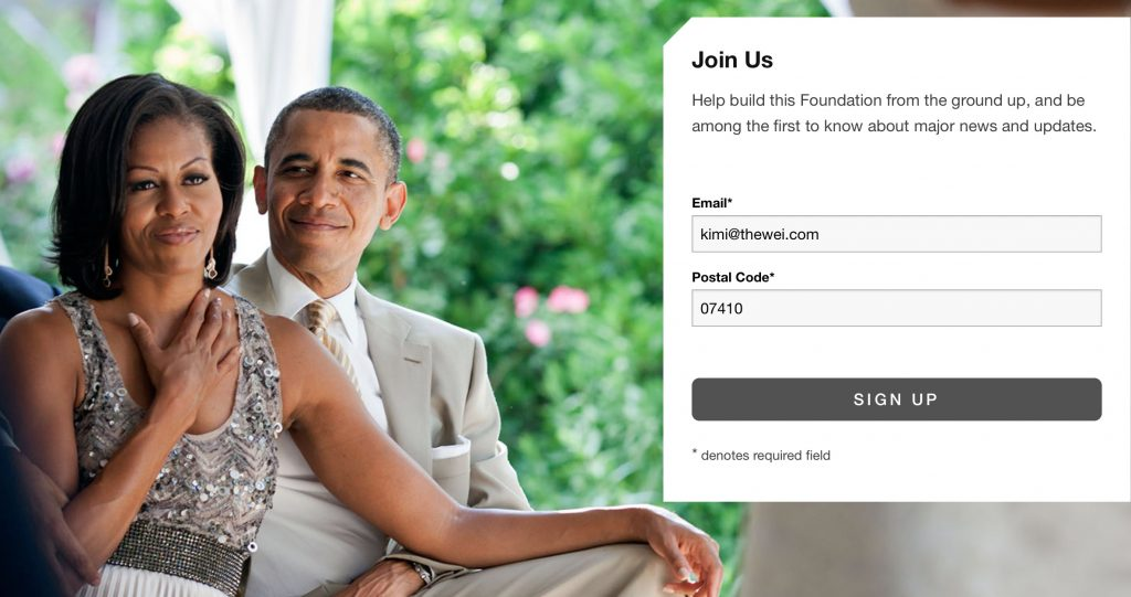 Obama Fdn news signup