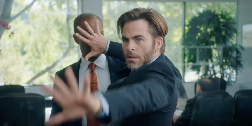 Chris Pine blocks sight