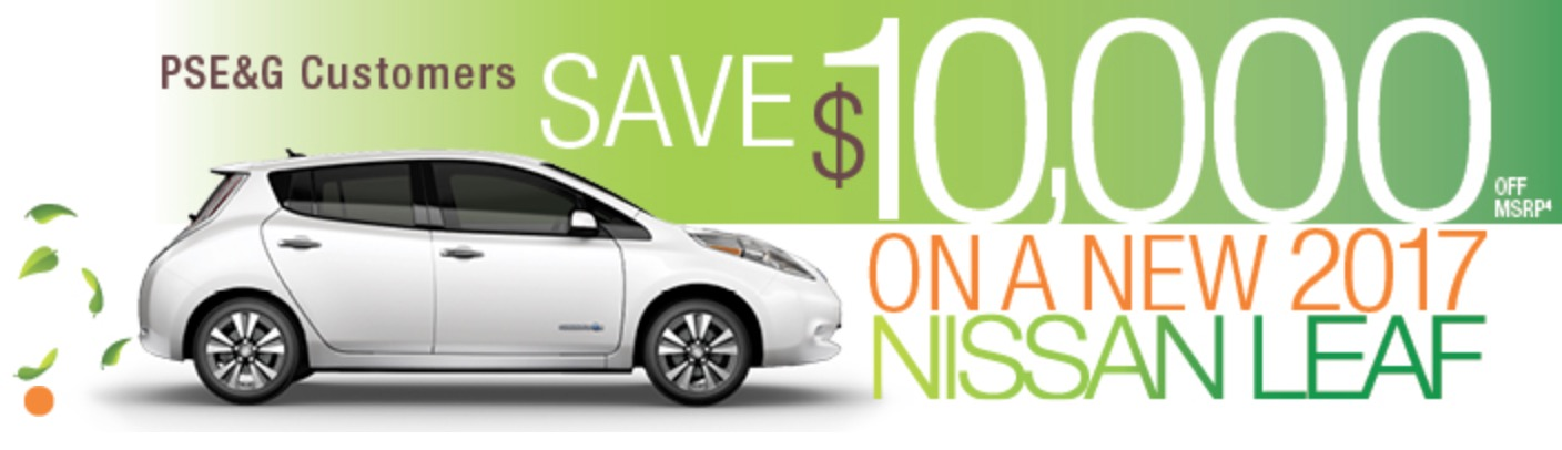 Pseg Offers Customers 10 000 Off On Purchase Of New 2017 Nissan Leaf