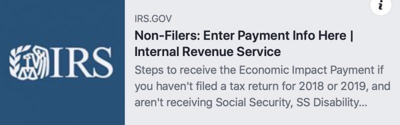 IRS page for non-filers