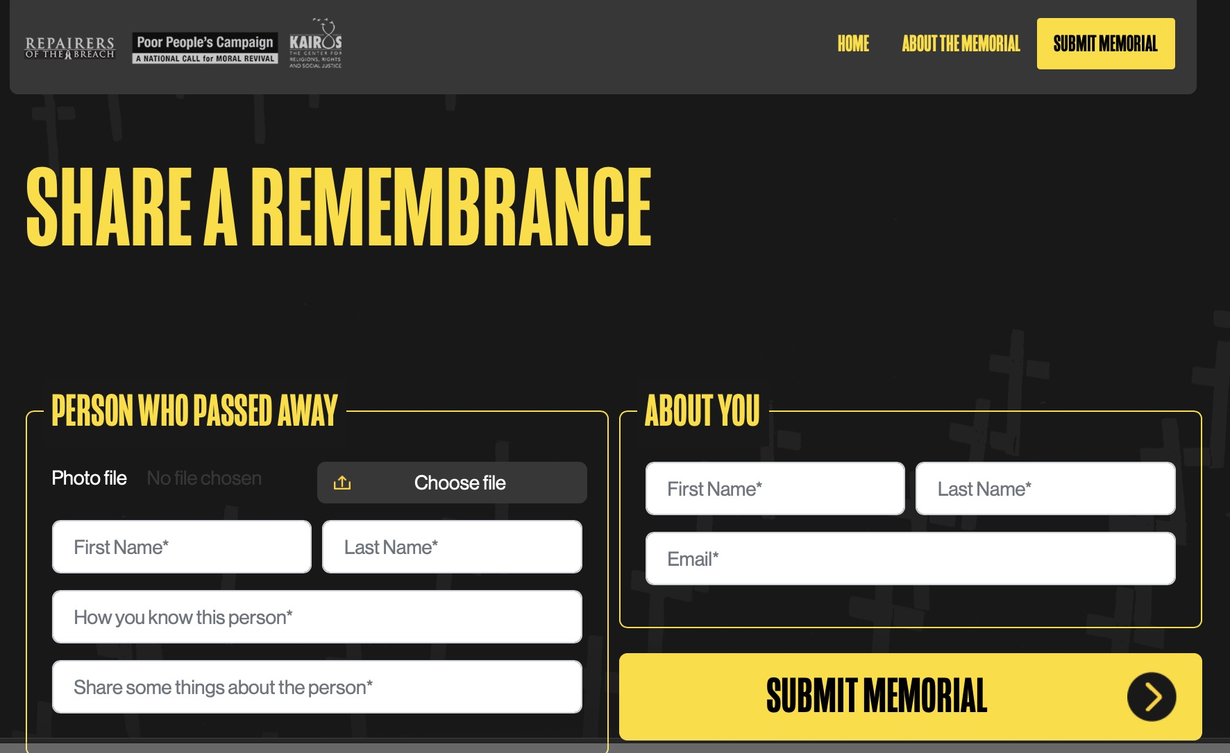 Poor People's Campaign remembrance wall app