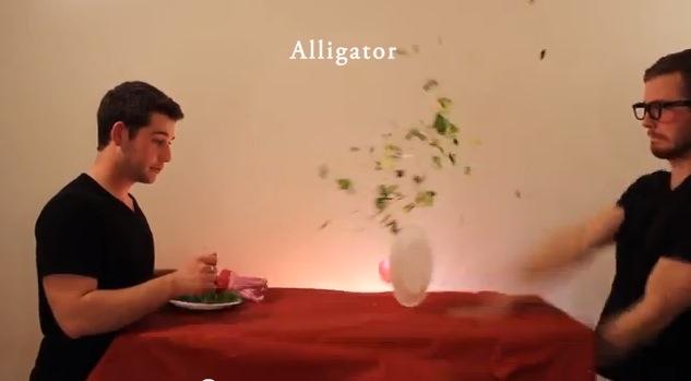 Man pretending to be an alligator