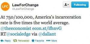 US incarceration rates 5 times world average