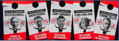 Dem doorhangers featuring GOP candidates