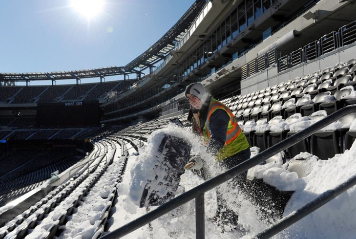 snow shoveling at MetLife Stadium