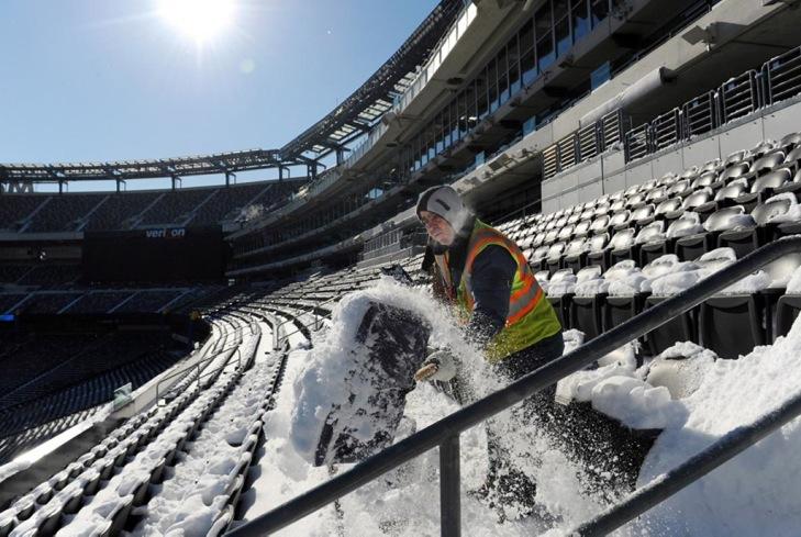 snow shoveling at MetLife Stadium