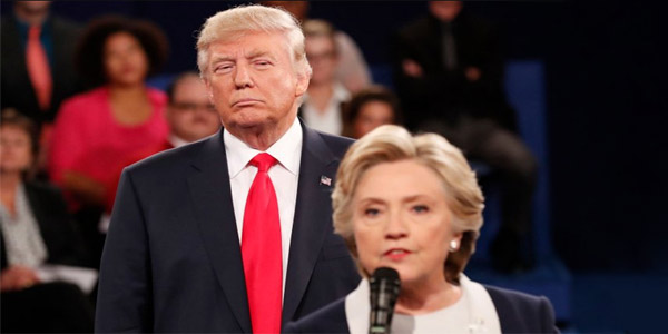Trump stares at Hillary in 2nd debate