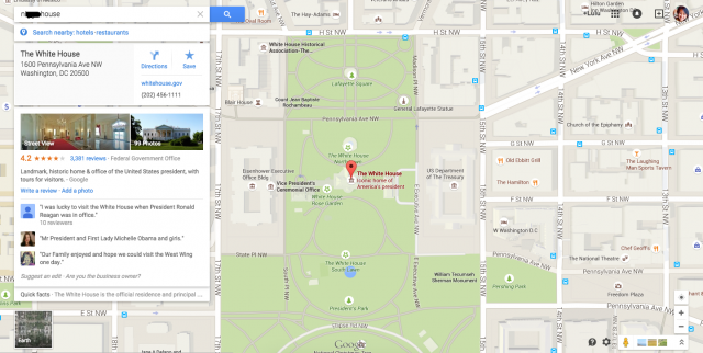 google maps search for n**** House yields White House